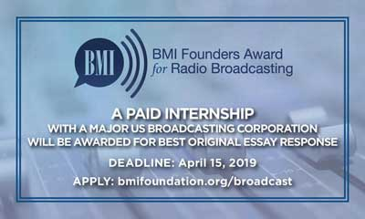 BMI Foundation Launches Founders Award Internship Program for Broadcasting Students Nationwide